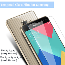9H HD Premium Tempered Glass Film For Samsung Galaxy A3 A5 A7 2015 A310 A510 A710 2016 Screen Protector Glasses Case + Clean Kit