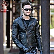 NEW ! 2017 David Beckham Leather Biker Jacket Black Stand Collar Oblique Zipper Genuine Cowskin Men Winter Slim Fit Motorcycle C(China)