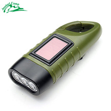 Mini flashlight LED Hand Crank Dynamo Solar Power Flashlight Climbing hook Torch Outdoor Camping Mountaineering Night Linternas