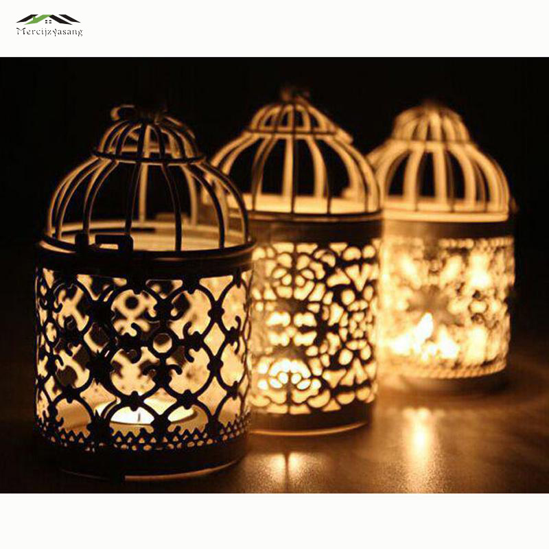 3pcs/lot Metal Bird Cage Wedding Candle Holder Lantern Morocco Vintage Small Lanterns For Candles Decorative Moroccan Lamp 016(China)