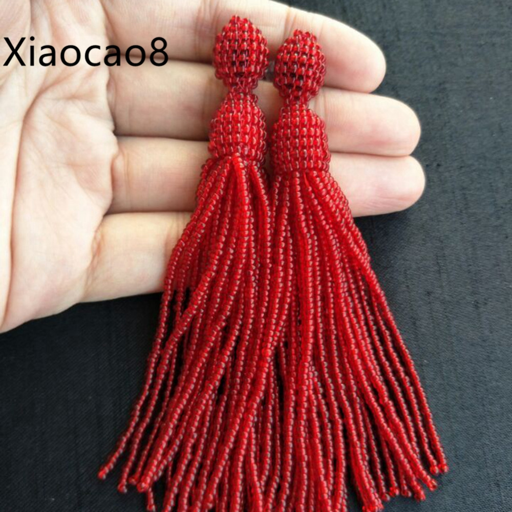 Red yellow gray long beaded tassel earrings women vintage earings fashion seed beads earring  jewelry bridesmaid earing