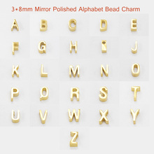 fnixtar 18mm small hole bead 38mm stainless steel mirror polished 26 alphabet letters