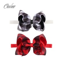 "10pcs/Lot 5"" Plaid Hairbow With Elastic Headband grosgrain Ribbon Bow Headbands Kids Christmas Hairbands Girl Hair Accessories()"