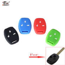 DANDKEY Sport Style Silicone Case Car Key Cover for Honda Accord CR-V CRV Civic Pilot Fit Freed StepWGN Key 3 Buttons Shell Ring