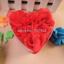 6pcs/pack 5pack/lot gift bowknot wedding favor double heart cleaning bath paper petals rose flower soap