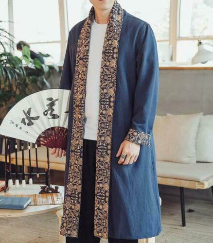 Plus Size 5XL Men Trench Coat Cotton Linen Mid Long Outwear Casual Chinese Style Ethnic Cardigan Long Sleeve Coats
