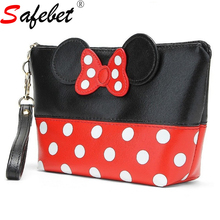 Mickey Mini Llips Makeup Bag Travel Storage Organizer Waterproof PU Leather Female Cute Dots Bow Tie Multi-function Cosmetic Bag(China)