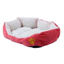 SODIAL(R)BASKET BASKET NICHE CUSHION MATTRESS BED DOG CAT ANIMAL46*42*15cm Small Size Rose(China)