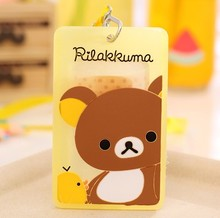 New Arrival 1pcs Cartoon Rilakkuma ID Name Badge Card Case Business Card Badge Holder With Neck Lanyard