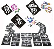 50 Mixed Design Sheets Stencils for Body Painting Glitter Temporary Tattoo Kit - 2014 Latest Templates - Free shipping