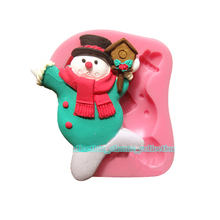 New Christmas Silicone Mold 3D Xmas Snowman Fondant Cake Decorating Mould Tool Soap Mold DIY Baking Cake Tools