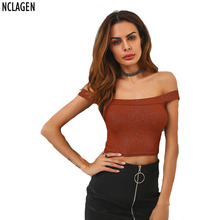 NCLAGEN 2017 New Brand T Shirt White Brown Off Shoulder Slash Neck Silver Crop Top T-shirt Sexy Backless Tee Femme Size S M L