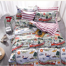 FADFAY Cotton Kids Boys Train Comforter Sets Bed Sheet Cartoon Bedding Sets Comforter Duvet Cover Sets Full Size With Pillowcase(China)