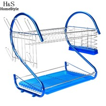 Homdox Drying Rack Drainer Dryer Tray Cutlery Holder Organizer Stand Stainless Steel 2 Tiers Kitchen Dish Cup N30*(China)
