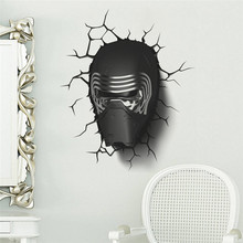 Darth Vader broken wall star war movie wall stickers for kids rooms boy's room decor decals movie art wallpaper boy's gift(China)