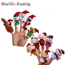 Christmas hand finger puppet set: 5pcs Christmas animals finger puppets + 6pcs Christmas family finger puppets Wholesale 5 Sets(China)