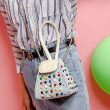Women Fashion Handbag Ladies' Colorful Rivets Totes Bags Denim Shoulder Chain Crossobody Causal Bags Small Purse For Women