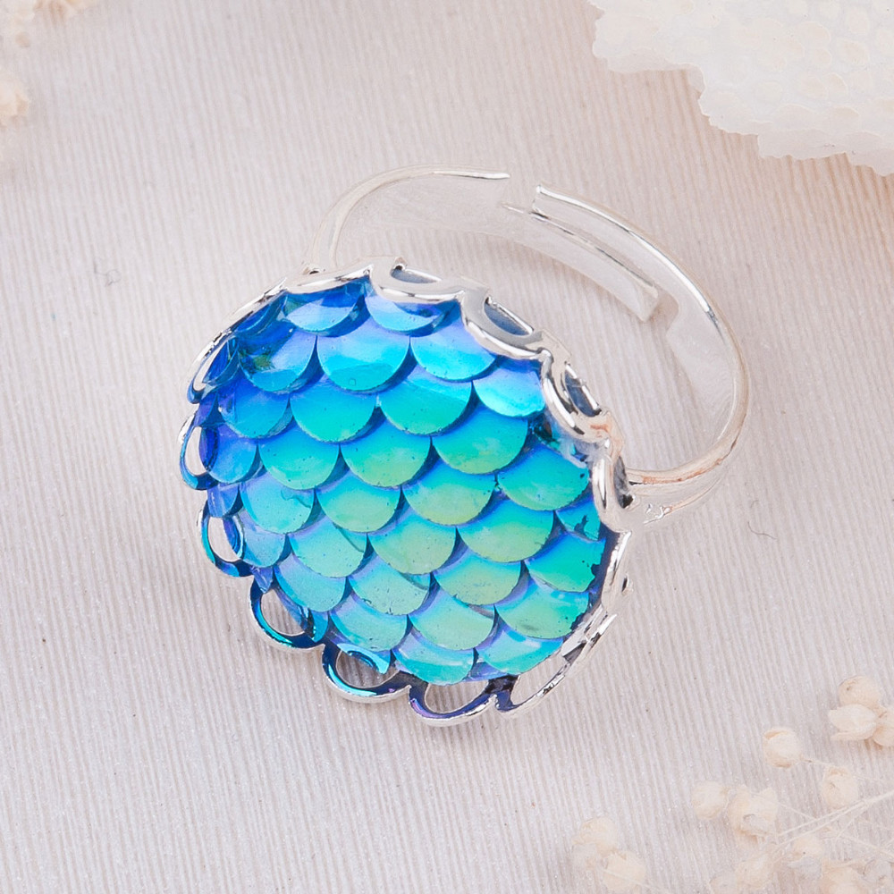 Beautiful Handmade Drusy Adjustable Size Mermaid Fish Scale Rings