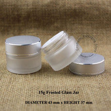 50pcs/Lot Wholesale 15g D43*H37mm Frosted Glass 1/2OZ Cream Jar Eyeshadow Container 15ml Sample Vial Cosmetic Small Pot