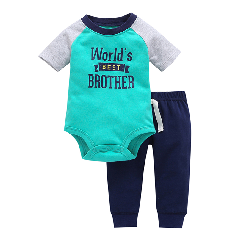 "short sleeve ""best brother"" letter print bodysuit+trousers new born baby boy summer sport outfit 2PCS clothing set infant girls"