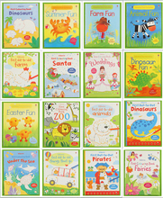 Free Shipping Usborne colorful line children english drawing game book 16pcs per set