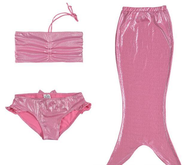 Children Summer Beach Swimwear Three-Piece Bikini Set High-Elastic Mermaid Swimsuit<br>