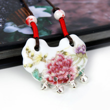 2014 Newly Handmading Small Bell Decoration Rich Peony Porcelain Fashion Knitted Chain Ceramic Adjustable Necklace N2110