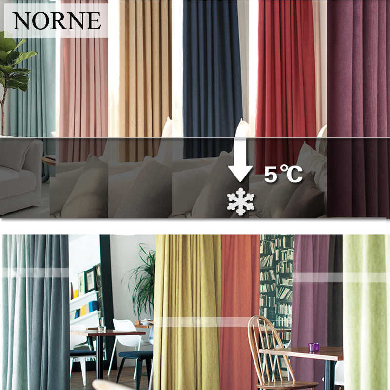 NORNE New Fabric Solid Color Linen Like Blackout Curtains for Living Room Modern Bedroom Window Curtains kitchen Curtains Blinds