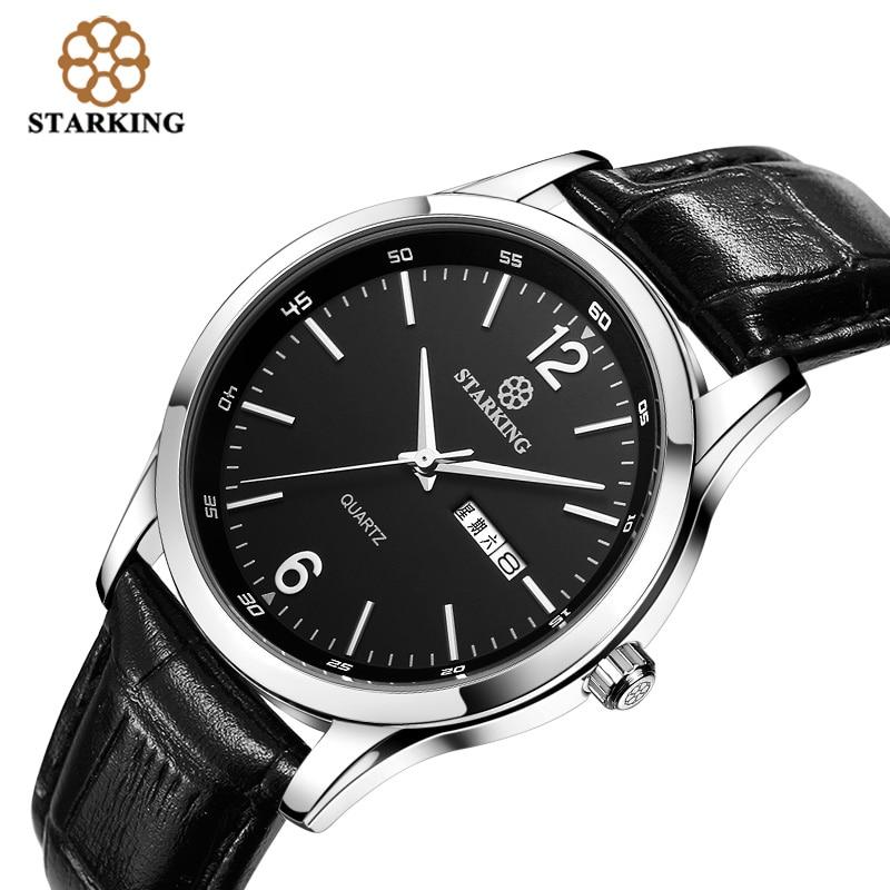 STARKING Men Dress Japan imported quartz movement 2016 New Fashion Genuine Leather Strap Famous Brand Black Wrist Watch BM0948<br>