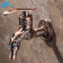 Doodii Carved Wall Mount Zinc Alloy Antique Red Bibcock,Decorative Outdoor Garden Faucet Washing Machine/mop Faucet,Toilet tap