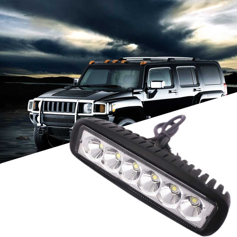 18W LED Bar Work Light Led Light Pods DRL 12V Spotlight Flood Driving Fog Light Offroad for Jeep Toyota SUV Boat Truck Headlight(China (Mainland))