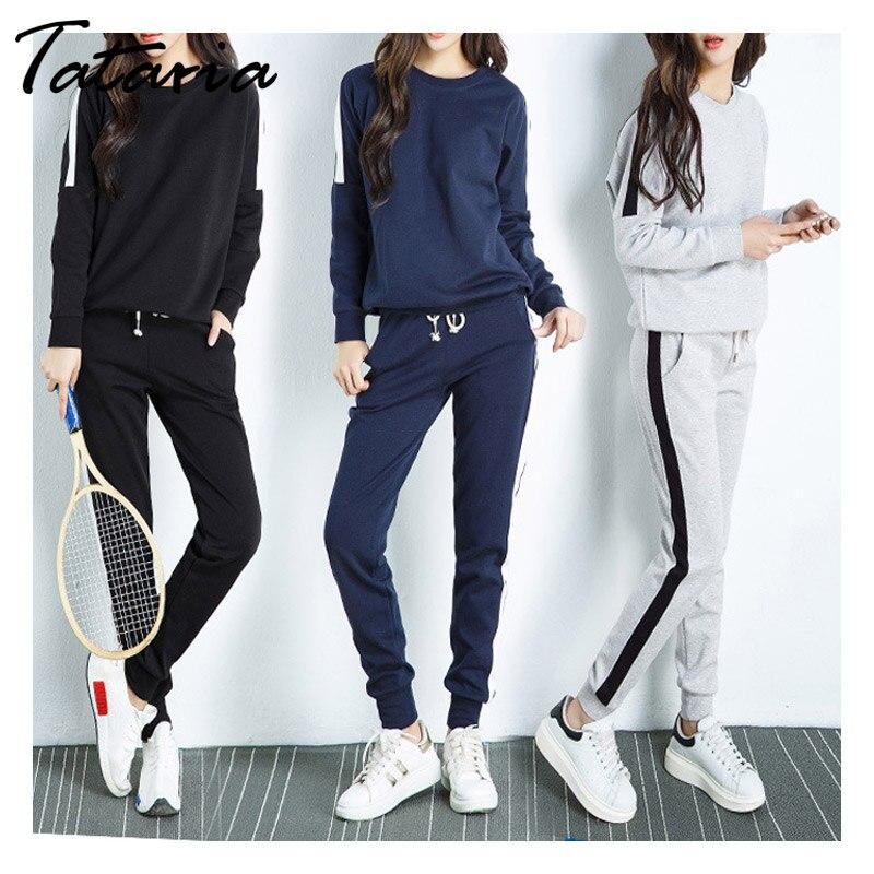 Women 2pcs Set Female Tracksuit T Shirt Top Long Pants Ladies Outfit Sweatsuit