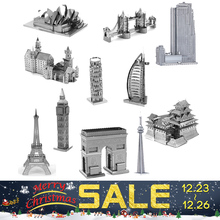 2017 New Development Of Intelligence Toy 3D Metal Puzzles Earth Laser Cut Model Jigsaws DIY Eiffel Tower Big Ben Helicopter gift