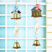 Japanese Real Wood Square Resin Campanula Wrought Iron Metal Ornaments Bell Students Birthday Gift(China)