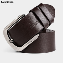 Western Business Men's Belt fashion brand designer pin buckle genuine leather belt male luxury strap belts for jeans Black Brown