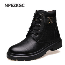 NPEZKGC Big Size Men Leather Boots Winter Warm Men Motorcycle Boots Men Ankle Boots Glitter Genuine Leather(China)