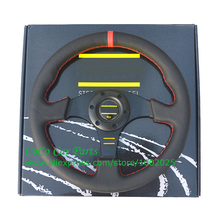 330mm Leather Steering Wheel Flat Racing Car Steering Wheel With Red / Yellow Stitching(China)