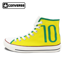 Converse All Star Hand Painted Shoes Brazilian Football Number 10 Soccer High Top Canvas Sneakers Men Women Unique Gifts(China)