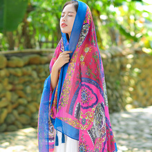 Fashion India Ethnic Retro Style Wrap and Scarf Flower Bandana Hijab Brand Design Flower Square Scarves and Shawls for Women