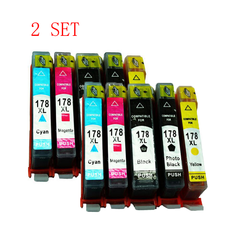 2 Set 10 Pcs hp178 Refillable Ink Cartridges for HP 178 178XL with chip hp 6510 B010B B109a B109n B110a B210b B209a B210a 3070A<br><br>Aliexpress