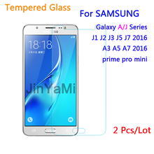 2 Pcs Tempered Glass For Samsung Galaxy J1 J3 J5 J7 A3 A5 2016 J2 Prime Mini J120 J320 J510 Screen Protector Protective Case(China)