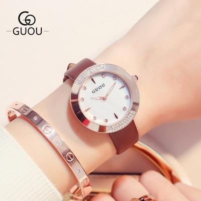 GUOU Luxury Gold temperament quartz Ladies Watches Fashion Leather strap watch Women Rhinestone Watches Waterproof Reloj mujer<br>