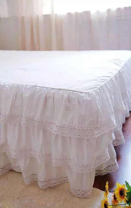 Luxury Three Layers Style, 100% Cotton, White Satin Lace Bed Skirt, Twin, Full, Queen, King 2