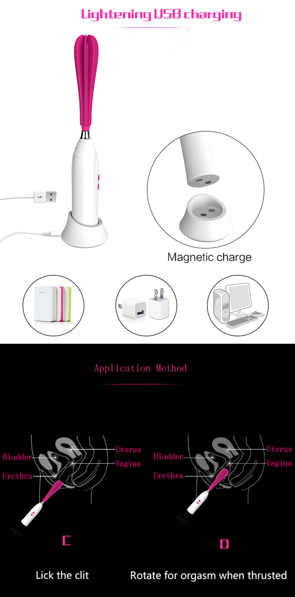 Au Reve 17 New Muti-speeds G Spot Vagina Clitoris Vibrator 360' Turn Around Adult Sex Product for Women Couple 3