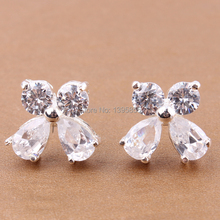 2014 New Fashion 1pcs Top Quality Bowknt 10X12mm Silver Plated Zircon Stud Earrings Jewelry Wedding Party Resale MGE045-1(China)