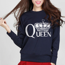 hiphop sexy woman hoodie tee 2017 queen crown print autumn black mma lady cute harajuku streetwear pink sweatshirt brand top