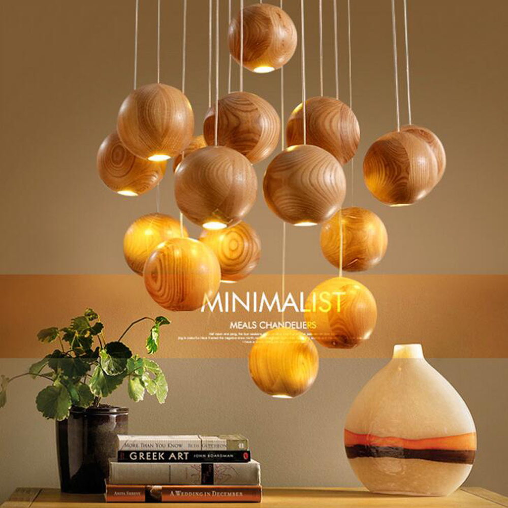 T Loft Wood Creative Simple Pendant light Modern Fashion Lamps For Dining Room Restaurant Bedroom Living Room Shape LED <br>