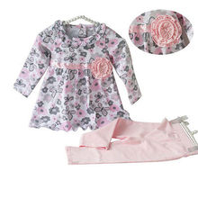 Toddler Baby girl clothes set pink floral T shirt butterfly long sleeve t shirt girl bow dress baby girl cotton pants outfit set