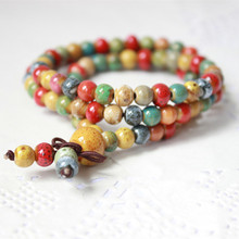 SUTI 2017 New Ceramic Beads Bracelet Art Sen Female 108 Rosary Hand Bohemian Three Laps Bracelets Gifts And Necklace Can Do(China)