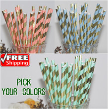 Free DHL 1000pcs Vintage Paper Straws Bulk-Pick Colors-New Metallic Gold and Mint Light Blue Pink Striped Paper Straws Colored(China)